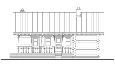 Detailed drawing of wooden sauna building