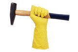 Hand in rubber glove with a hammer