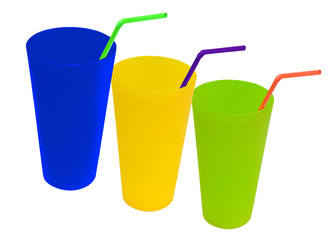 colorful cups with bendable straws