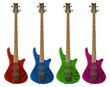 Multi-colored bass guitars