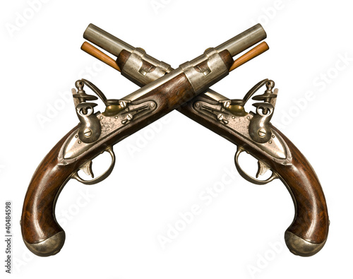 Two Crossed Flintlock Pistols