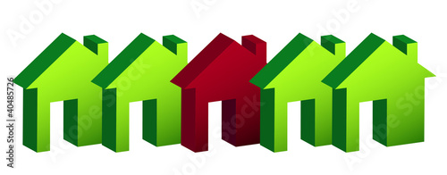 row of houses illustration design over white