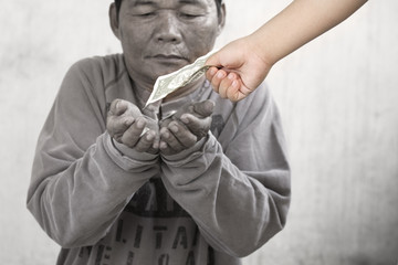 Dirt hand of a gypsy man