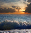 Sea wave  in sunset time