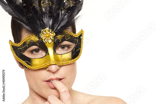 Beautiful mature woman portrait in venetian mask