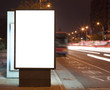 Blank billboard at night in the city Street