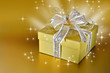 Golden gift box or present with ribbon and bow