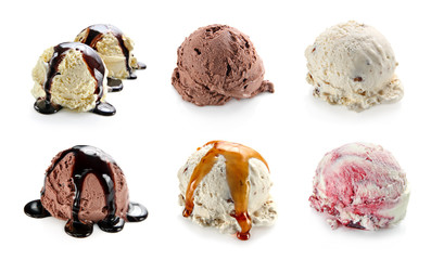 Ice cream scoops collage