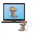 Notebook and two mouses on the screen and attached one
