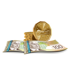 Canadian dollar banknotes and coins vector illustration