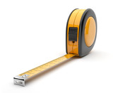 Tape measure 3D. Construction tool. Icon isolated on white backg