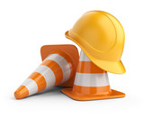 Fototapety Traffic cones and hardhat. Road sign. Icon isolated on white bac