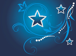 Dark blue decorative background with shining stars