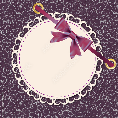Vector greeting card with frame and bow. Space for your text or