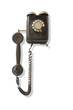 Old dusty wall-mounted telephone