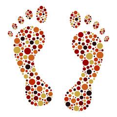 Colorful circular dot footprints vector.