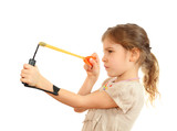 Concentrated girl with slingshot aim isolated on white