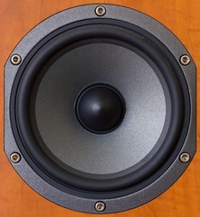 Close up of a wooden mid tones speaker.