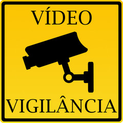 Aviso - vídeo vigilância (com palavras e câmara)