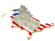 Карта США и купюры