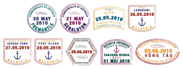 Asian passport stamps in vector format.