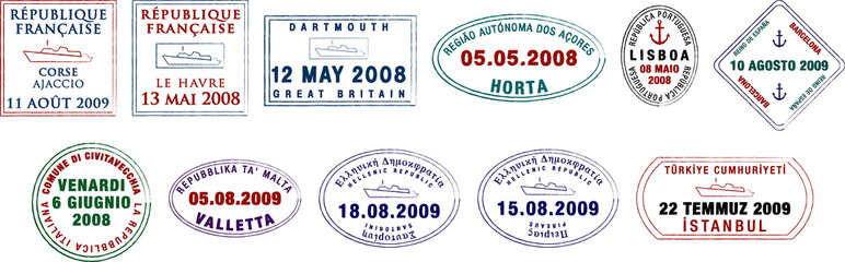 Vector European passport stamps.