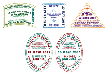 Passport stamps of Guatemala, Belize, Panama and Costa Rica.