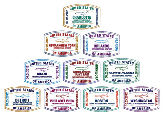 Passport stamps of major US airports in vector format.