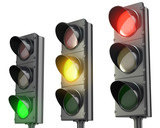 Fototapety Three traffic lights, red green and yellow