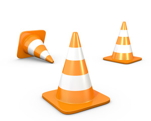 Three road cones