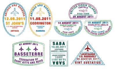 Passport stamps from the Windward Islands in the Caribbean.