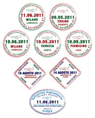 Passport stamps from France, Italy and Greece