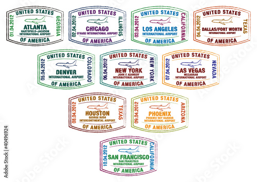 Top ten busiest U.S. airport passport stamps in vector format.