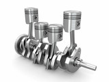 Pistons and crankshaft. four cylinder engine
