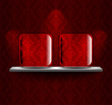 Shelf with two glass placeholders poster
