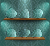 Wooden shelves with glass placeholders poster