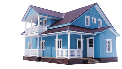 Blue house on white