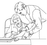 Business couple working  at the office  vector illustration