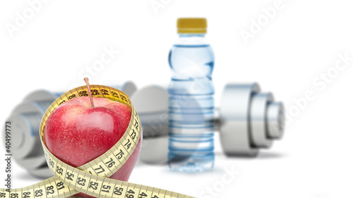 Dumbbells with an apple and measuring type