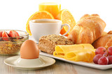 Fototapety Breakfast with coffee, rolls, egg, orange juice, muesli and chee