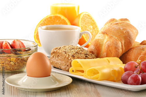 Poster Kruidenierswinkel Breakfast with coffee, rolls, egg, orange juice, muesli and chee
