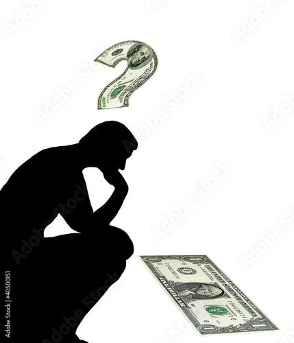Thinking man. Money question, US dollars. Concept