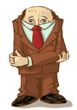 Office worker. Cowardly hid his head. Vector illustration. poster