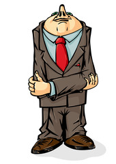 Office worker. Cowardly hid his head. Vector illustration.