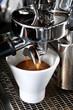 espresso coffee in espresso machine
