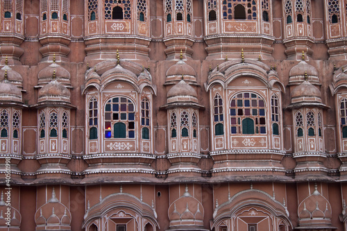 Detail of Hawa Mahal (Palace of the Winds) in Jaipur. India.