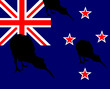 Kiwi bird silhouette, flag New Zealand