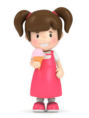 3d render of a kid holding ice cream