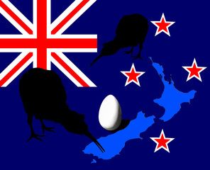 Kiwi bird, egg over New Zealand flag