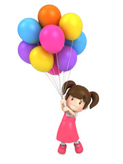 3d render of a floating kid with balloons